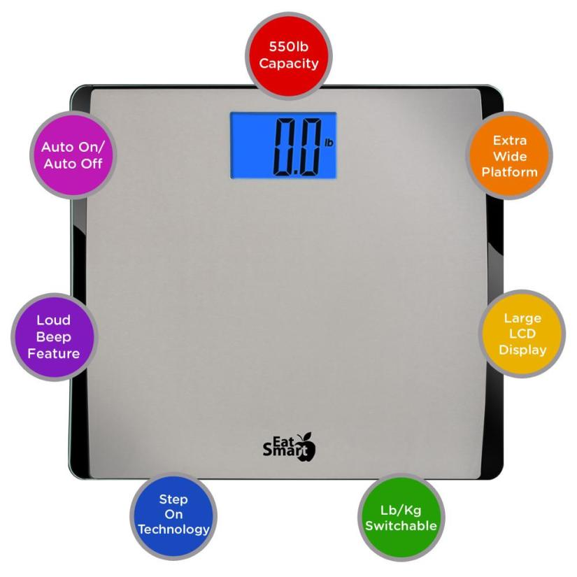 EatSmart Precision 550 Extra Wide Digital Scale w/ 550LB Capacity